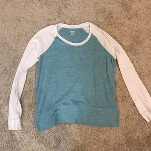Long Sleeve Blue and White Shirt
